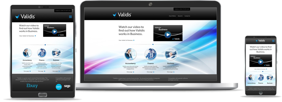 Validis Website on a range of devices
